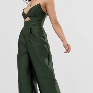 Asos strapless green wide leg jumpsuit